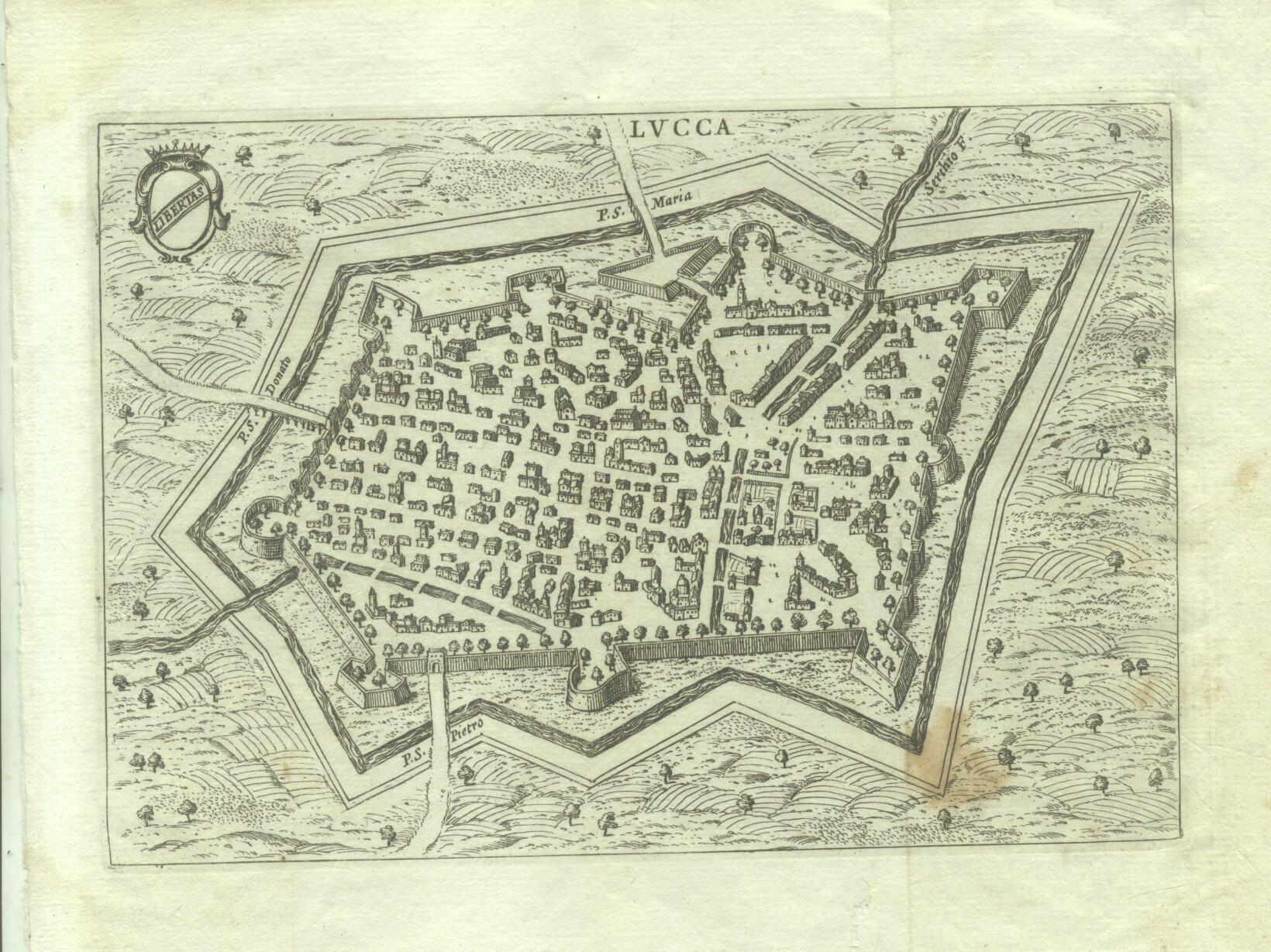 """LUCCA. Pianta assonometrica della città di Lucca, incisa da Mattio Cadorin, tratta da """"..."""