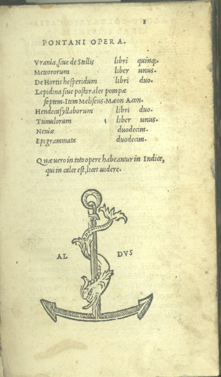 PONTANI OPERA / IOANNIS IOVIANI PONTANI AMORUM LIBRI II [.]. Due edizioni aldine raccolte in ...