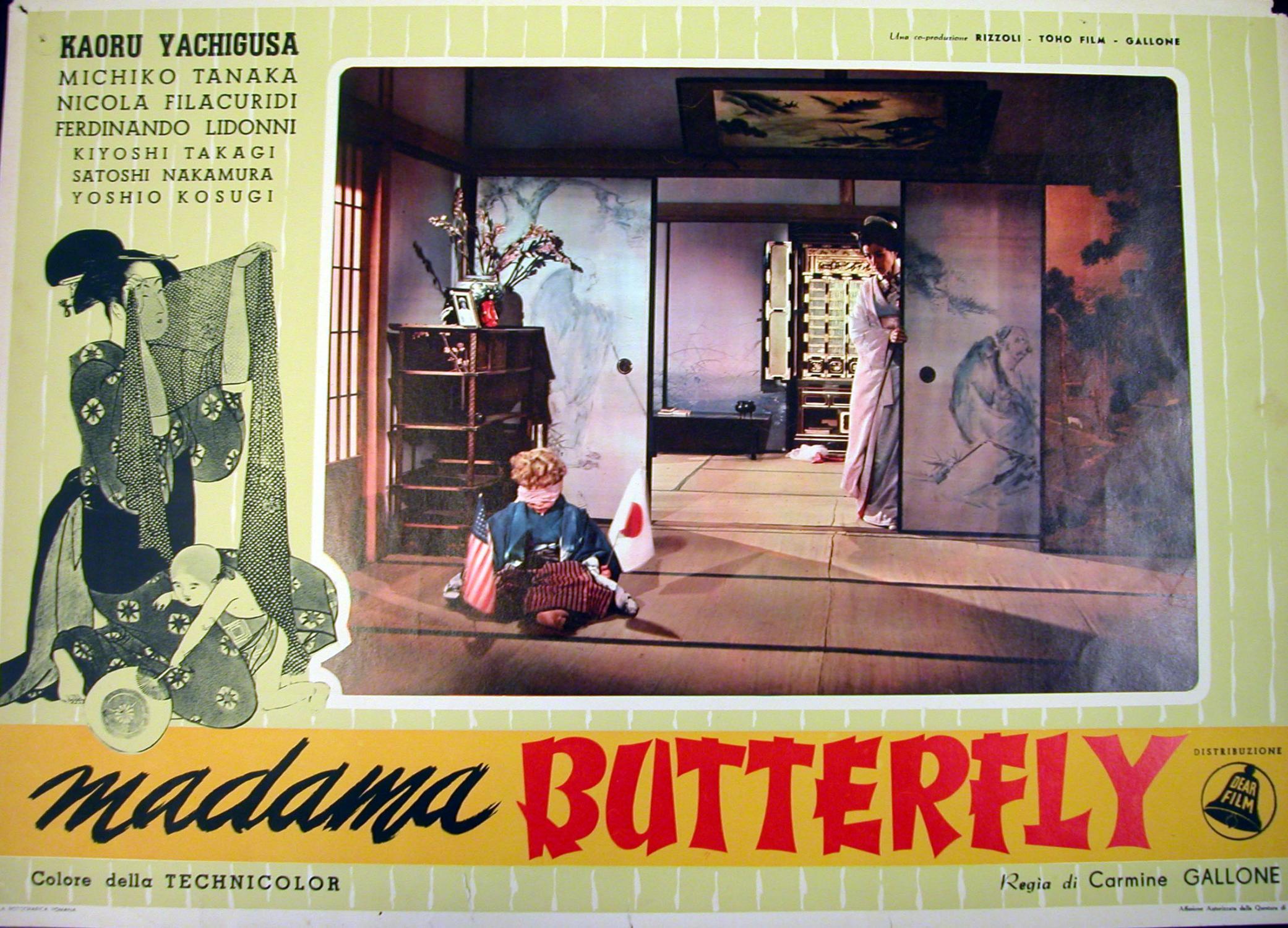"""Locandina cinematografica di propaganda del film """"Madame Butterfly"""" di Carmine Gallone, ..."""