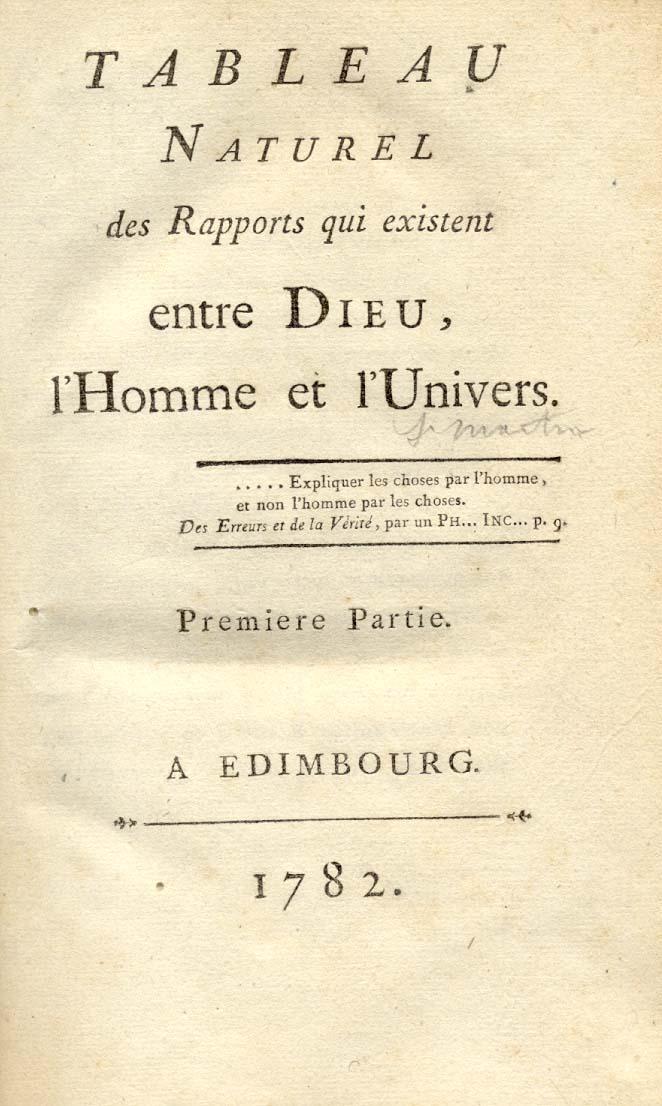 TABLEAU NATUREL DES RAPPORTS QUI EXISTENT ENTRE DIEU, L'HOMME ET L'UNIVERS.: Saint MARTIN...