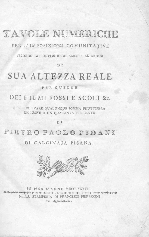 TAVOLE NUMERICHE PER L'IMPOSIZIONI COMUNITATIVE SECONDO GLI: FIDANI Pietro Paolo.