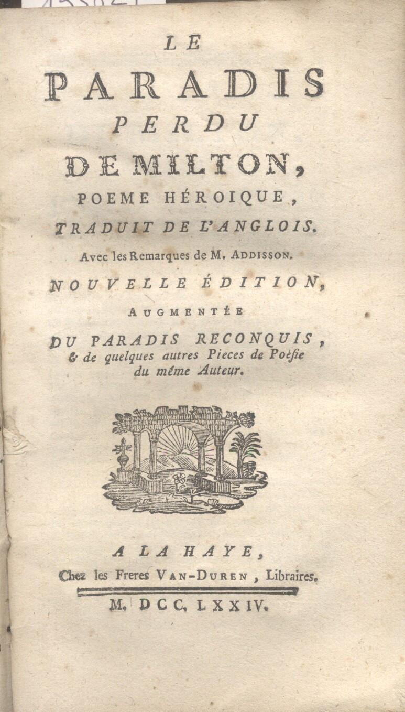 LE PARADIS PERDU DE MILTON. Poeme héroique,: MILTON Jean.