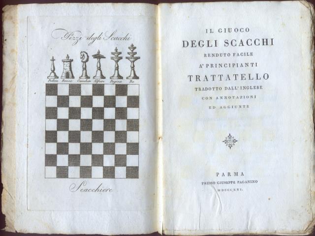 Il giuoco degli scacchi tradotto da Michele Colombo - Prima edizione 1821