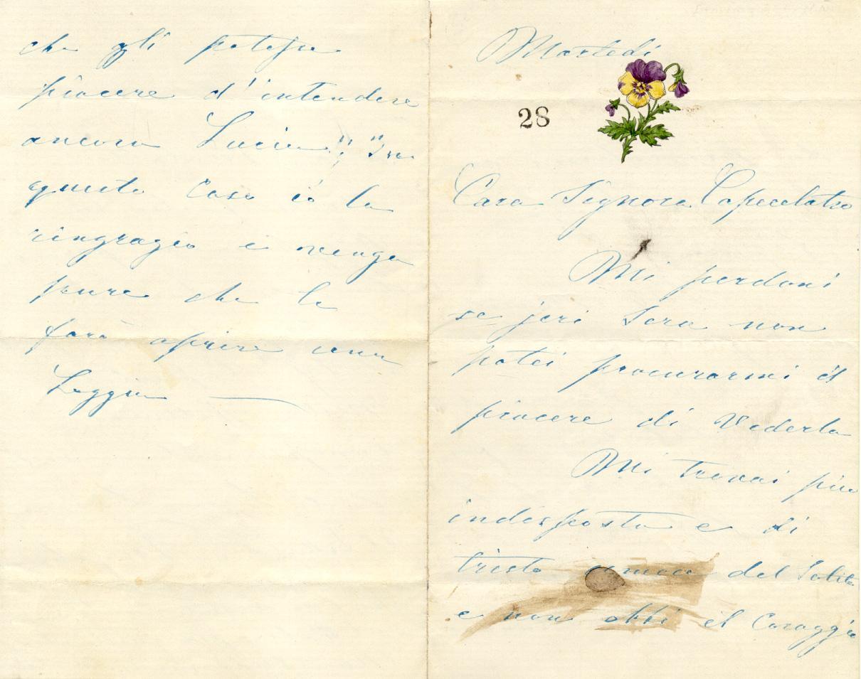 Lettera autografa firmata della cantante Erminia Frezzolini, priva di data, inviata alla Signora ...