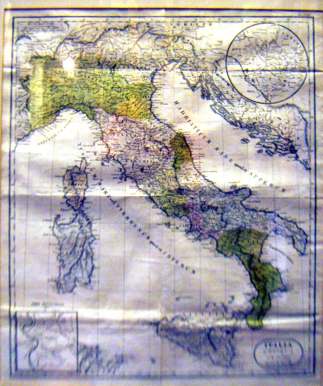 ITALIA ANTIQUA CUM INSULIS. Incisione originale su rame di Jean Baptiste Bourguignon d'Anville...