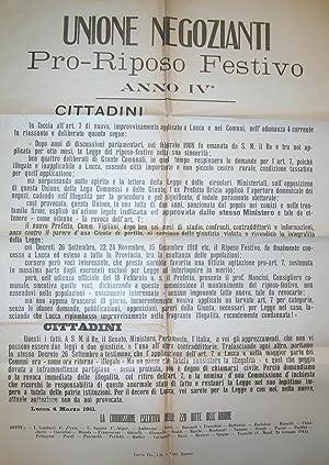 """Raccolta di documenti a stampa della """"Unione Negozianti Lucchesi Pro Riposo Festivo""""."""