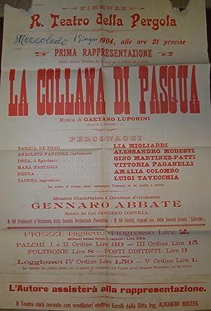 Locandina originale per una esecuzione il 1 giugno 1904 al R.Teatro alla Pergola di Firenze dell&#...