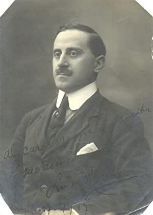 Fotografia in bianco e nero con firma autografa dello scrittore Luigi Motta (Bussolengo, 1881 - ...