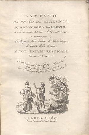 """LAMENTO DI CECCO DA VARLUNGO. Con la versione latina ed Annotazioni si aggiungono """"La Risposta..."""
