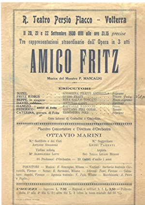 """Locandina originale per una rappresentazione dell'opera """"L'Amico Fritz"""" di Pietro ..."""