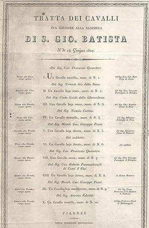 TRATTA DEI CAVALLI PER CORRERE ALLA BANDIERA DI SAN GIOVANNI BATTISTA IL DI' 24 GIUGNO 1827. (...