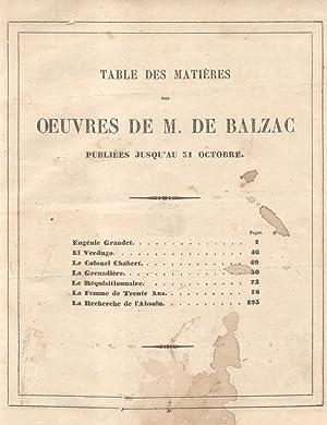 OEUVRES. Publiées jusqu'au 31 Octobre. 1850 circa.: BALZAC Honoré De.