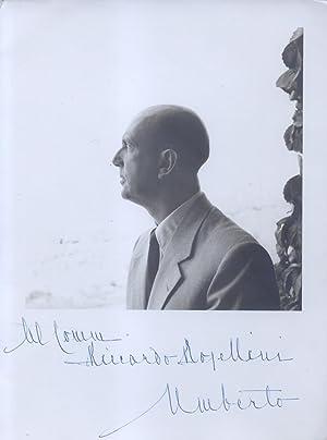 Fotografia originale raffigurante il Re d'Italia Umberto II di Savoia, con dedica autografa ...