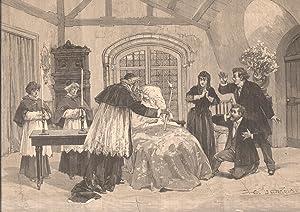 """Xilografia raffigurante una scena di """"Le Rêve"""", dramma lirico in quattro atti e ..."""