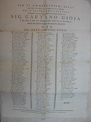 PER LI AMMIRATISSIMI BALLI CHE NELL'AUTUNNO DEL 1798 SONO STATI IN FIRENZE NEL R.TEATRO DELLA ...