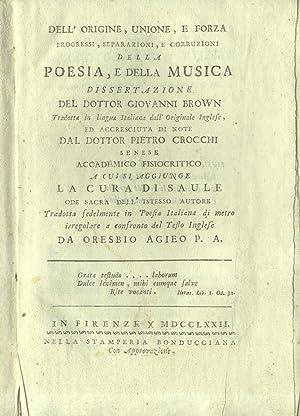 DELL'ORIGINE, UNIONE, E FORZA, PROGRESSI, SEPARAZIONI E CORRUZIONI DELLA POESIA, E DELLA ...