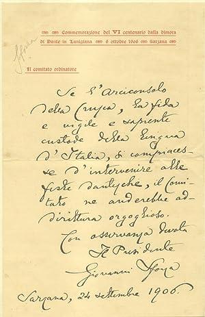 Lettera autografa firmata del letterato, storico e numismatico Giovanni Sforza (Montignoso, 1846?...