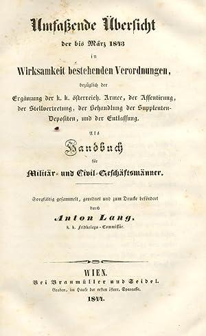 UMFABENDE ÜBERSICHT DER BIS MÄRZ 1843 IN WIRKSAMKEIT BESTEHENDEN VERORDNUNGEN. Bezü...