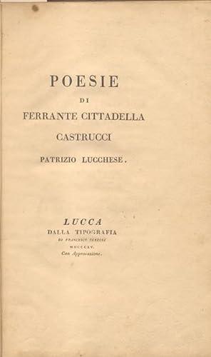 POESIE. In occasione delle faustissime Nozze tra il Nobil Uomo Giacomo Cittadella Castrucci coll&#...