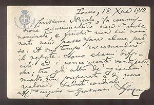 Cartolina postale autografa firmata del letterato, storico e numismatico Giovanni Sforza (...