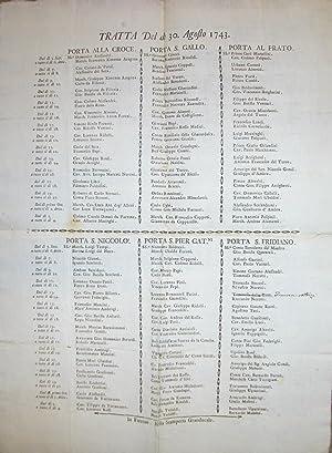 TRATTA [DEI CAVALLI] DEL DI' 30 AGOSTO 1743. (1743).