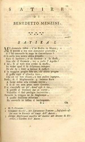 SATIRE DEL MENZINI. 1730 circa.: MENZINI Benedetto.