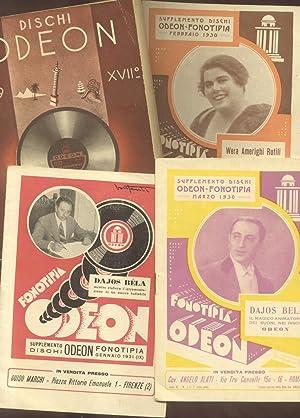 """DISCHI """"ODEON"""". Lotto di cataloghi dell'Azienda discografica. 1930-1941."""