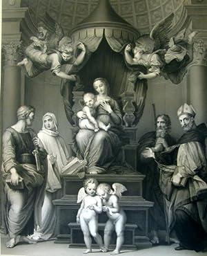 """Incisione originale su rame raffigurante """"La Vergine detta del Baldacchino"""" di Raffaello ..."""