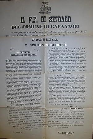Decreto emanato dal Sindaco di Capannori in merito ai diritti di esproprio per terreni ove ...