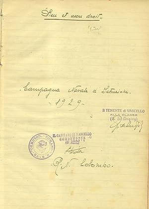 """CAMPAGNA NAVALE D'ISTRUZIONE 1929. Giornale di Bordo sulla R.N.""""Cristoforo Colombo"""",..."""