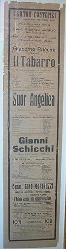 """Locandina originale per la prima esecuzione europea de """"Il Trittico"""" di Giacomo Puccini ..."""