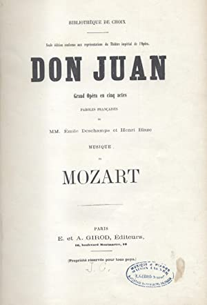 DON JUAN (1787). Grand Opéra en cinq actes. Paroles françaises de MM. Émile ...