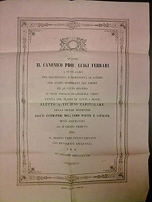 Foglio sciolto offerto da alcuni cittadini modenesi al Canonico Luigi Ferrari in occasione della ...