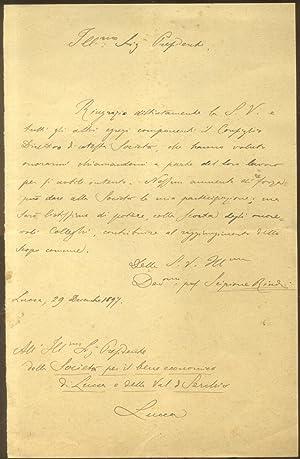 Lettera autografa firmata del matematico Scipione Rindi (Lucca, 1859-1952).