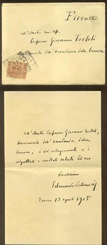 Lettera autografa firmata del letterato Edmondo De Amicis (Oneglia, 1846-1908), inviata da Firenze ...
