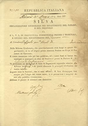 Documento originale a stampa, compilato a mano, in cui il Cittadino Nicolò Raffaelli di ...
