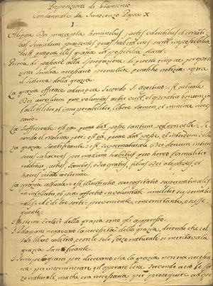 PROPOSIZIONI CONDANNATA DA VARI PAPI. Manoscritto scolastico originale di Felice Tortoli, studente ...