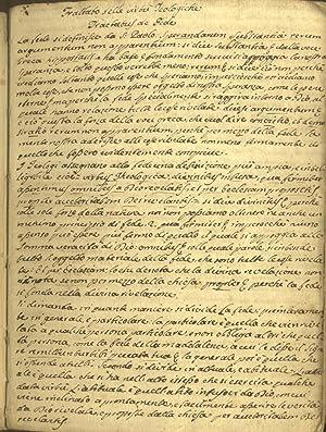 TRATTATO DELLE VIRTU' TEOLOGICHE. Manoscritto scolastico originale di Felice Tortoli, studente...