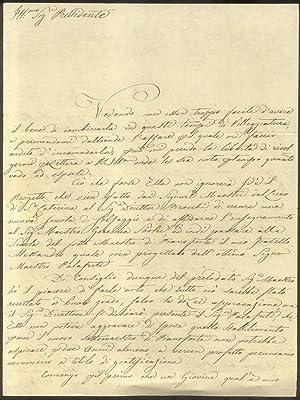Lunga lettera autografa firmata del musicista Alamanno Biagi inviata in data 25 novembre 1836.