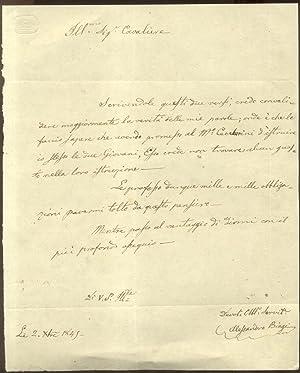 Lettera autografa firmata del musicista Alessandro Biagi inviata in data 2 dicembre 1845.