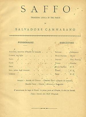 SAFFO (1840). Tragedia lirica in tre Parti di S.Cammarano. Opera completa per Canto e Pianoforte. ...