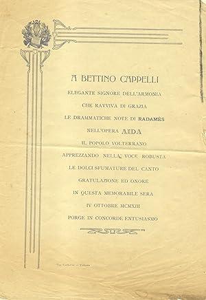 """Locandina pubblicata a Volterra in onore del cantante lirico Bettino Cappelli, interprete di """"..."""