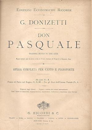 DON PASQUALE (1843). Dramma buffo in tre atti di Michele Accursi. Opera completa per Canto e ...