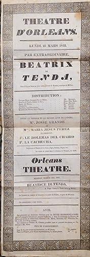 """Locandina originale per una esecuzione dell'opera """"Beatrice di Tenda"""" di Vincenzo ..."""