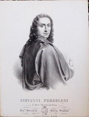 Litografia originale di Vincenzo Roscioni raffigurante a mezzo busto il musicista Giovanni Battista...