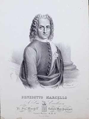 Litografia originale di Vincenzo Roscioni raffigurante a mezzo busto il musicista Benedetto ...