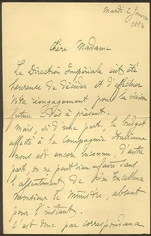 Lotto di cinque lettere autografe manoscritte inviate nel 1882 dal musicista Antonio Vigentini alla...