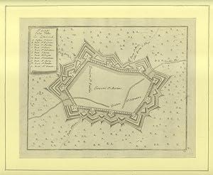PLAN DE LA VILLE DE LUCCA. Pianta topografica schematica della città di Lucca incisa da ...