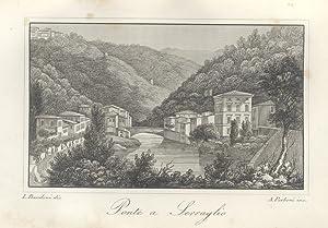 PONTE A SERRAGLIO. Incisione originale su rame di A. Parboni su disegno di Lorenzo Bandoni tratta ...