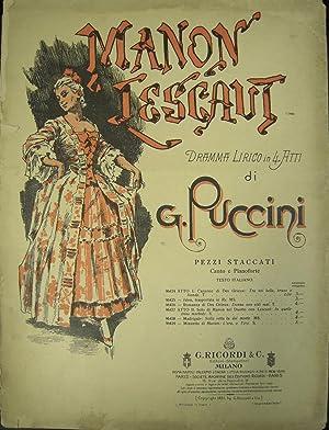 """MANON LESCAUT"""" DI GIACOMO PUCCINI (1893). Spartito originale con coperta illustrata da Adolf ..."""